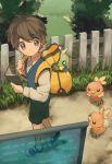 1boy backpack book brown_hair fence grass linaria_(ookinahitomi) pokemon spinarak torchic