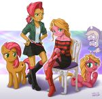 3girls applejack babs_seed dual_persona multiple_girls my_little_pony my_little_pony_equestria_girls my_little_pony_friendship_is_magic personification sunflower_(mlp) tagme uotapo
