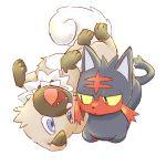 10s litten no_background no_humans pokemon pokemon_(game) pokemon_sm rockruff shinkichi simple_background tagme white_background