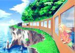 1girl blonde_hair grass sea train trees water windy