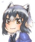 1girl animal_ear_fluff animal_ears bangs black_hair black_neckwear bow bowtie brown_eyes commentary common_raccoon_(kemono_friends) extra_ears eyebrows_visible_through_hair fang fang_out fur_collar grey_hair hair_between_eyes highres kemono_friends looking_at_viewer multicolored_hair portrait puffy_sleeves raccoon_ears signature smile solo thin_(suzuneya) white_hair