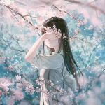 1girl black_hair blurry cherry_blossoms closed_mouth commentary_request covered_eyes dappled_sunlight depth_of_field dress facing_viewer flower from_side grey_dress hand_up highres holding holding_flower hoshi_ame long_hair original petals pinafore_dress pink_flower pleated_dress shirt sleeves_pushed_up smile solo spring_(season) sunlight tree_branch upper_body white_shirt
