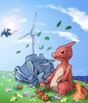 artist_request charizard charmeleon fire leaves no_humans pokemon rhyhorn sitting water wind_turbine