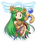 1girl bare_shoulders blush breasts chibi green_hair jewelry kid_icarus kid_icarus_uprising long_hair mazume medium_breasts mismatched_footwear necklace palutena smile solo super_smash_bros. tiara very_long_hair