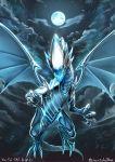 blue-eyes_white_dragon blue_eyes dragon duel_monster full_moon highres monster moon no_humans outdoors sky soratobuiltusa yu-gi-oh! yuu-gi-ou_duel_monsters