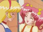2girls 90s :d ^_^ aki_natsuko aki_natsuko_(cutie_honey_flash) blonde_hair closed_eyes cutie_honey cutie_honey_flash female friends kisaragi_honey kisaragi_honey_(cutie_honey_flash) long_hair multiple_girls open_mouth pink_hair smile tied_hair twintails