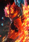 1boy abs asymmetrical_clothes cave epic fairy_tail fire flame gradient gradient_background lava looking_at_viewer male_focus natsu_dragneel on_fire pink_hair realistic scar solo standing veins wings