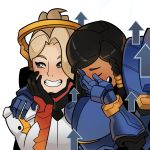 2girls blush closed_eyes covering_face derivative_work directional_arrow grin hand_on_another's_shoulder laughing looking_to_the_side mechanical_halo meme mercy_(overwatch) multiple_girls open_mouth overwatch parody pharah_(overwatch) simple_background smile splashbrush transparent_background upper_body young_women_laughing_in_photo_booth