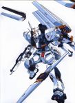 beam_rifle char's_counterattack energy_gun fin_funnels funnels gundam highres izubuchi_yutaka mecha no_humans nu_gundam official_art oldschool