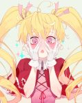 1girl artist_name biscuit_krueger blonde_hair frown gloves hair_ribbon hands_on_own_cheeks hands_on_own_face highres hunter_x_hunter long_hair open_mouth pink_eyes ribbon solo soppaghetti sparkle twintails twitter_username upper_body white_gloves