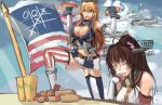 2girls aircraft airplane american_flag arms_up bare_shoulders black_vest blonde_hair blue_eyes blue_sky breasts cleavage closed_eyes clouds day eating elbow_gloves flag gloves headgear hot_dog iowa_(kantai_collection) kantai_collection large_breasts long_hair multiple_girls navel panties_(pantsu-pirate) ponytail shirt sky sleeveless sleeveless_shirt standing star star-shaped_pupils stomach symbol-shaped_pupils table tic-tac-toe very_long_hair white_gloves white_shirt wrist_cuffs yamato_(kantai_collection)