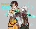 1boy 1girl blizzard_(company) blue_eyes breasts brown_hair character_name crossed_arms crossover dark_skin dark_skinned_male ekko_(league_of_legends) goggles goggles_around_neck height_difference jacket league_of_legends mohawk overwatch power_connection riot_games rmm short_hair tracer_(overwatch) white_hair