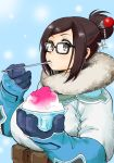 1girl bangs beads belt belt_pouch black-framed_eyewear black-framed_glasses blue_gloves bowl breasts brown_belt brown_eyes brown_hair coat fur-lined_jacket fur_trim glasses gloves hair_bun hair_ornament hair_stick hairpin highres huge_breasts jacket long_sleeves looking_at_viewer mei_(overwatch) mouth_hold overwatch parka shaved_ice short_hair sidelocks snowflake_hair_ornament solo spoon spoon_in_mouth swept_bangs upper_body utility_belt winter_clothes winter_coat yorudo_kaoru