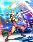 2girls black_hair breasts capcom cleavage cleavage_cutout crowd domino_mask genzoman leotard lifting_person mask multiple_girls official_art rainbow_mika stadium street_fighter street_fighter_v wrestling wrestling_outfit yamato_nadeshiko_(street_fighter)