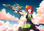 1girl belt black_dress blue_sky canards clouds cowboy_shot day dress flying frank_patriot hair_between_eyes kaname_buccaneer light_rays looking_at_viewer macross macross_delta mecha messer_ihlefeld music open_mouth outdoors outstretched_arm plant redhead science_fiction short_hair singing skirt sky songstress standing variable_fighter vf-31 vf-31_siegfried