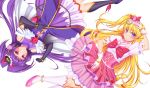 2girls asahina_mirai black_boots black_gloves black_hat blonde_hair boots bow bracelet brooch cure_magical cure_miracle elbow_gloves frills gloves hair_bow half_updo hat highres izayoi_riko jewelry knee_boots long_hair looking_at_viewer magical_girl mahou_girls_precure! mini_hat mini_witch_hat multiple_girls pink_bow pink_hat pink_skirt ponytail precure purple_hair purple_skirt red_bow rotational_symmetry shiboru skirt smile violet_eyes white_background white_boots white_gloves witch_hat