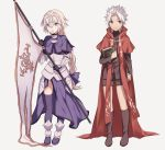 1boy 1girl armor armored_dress blonde_hair book bow braid capelet chains cross fate/apocrypha fate/grand_order fate_(series) flag full_body gauntlets green_eyes hair_bow headpiece holding holding_book kotomine_shirou long_hair long_sleeves looking_at_viewer open_mouth purple_bow purple_legwear red_cape ruler_(fate/apocrypha) ruler_(fate/grand_order) single_braid smile spiky_hair thigh-highs very_long_hair white_hair wowishi yellow_eyes younger