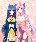 2girls absurdres animal_ears arm_at_side black_legwear blue_hair blush borrowed_character breasts cleavage clenched_hand espeon forehead_jewel gem hands_together hat highres interlocked_fingers jewelry large_breasts long_hair looking_at_viewer multiple_girls naiki_karin necklace personification pokemon purple_hair red_eyes standing typhlosion violet_eyes