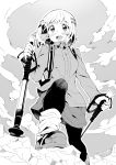 1girl backpack bag blush boots climbing clouds cloudy_sky hair_ornament hairclip highres jacket leg_warmers long_sleeves monochrome open_mouth outdoors pantyhose short_hair skirt sky smile solo standing takano_itsuki yama_no_susume yukimura_aoi