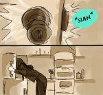 1girl color_coordination door female indoors kill_la_kill kiryuuin_satsuki kitchen monochrome refrigerator roman_imperial sepia solo sound_effects spot_color