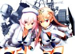 2girls 3d alternate_breast_size alternate_costume breasts harusame_(kantai_collection) hat highres japan_maritime_self-defense_force kantai_collection large_breasts mikumikudance multiple_girls remodel_(kantai_collection) scarf side_ponytail sierra_(ws) skirt white_hat white_scarf white_skirt yuudachi_(kantai_collection)