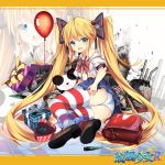1girl :3 alternate_costume andrea_doria_(zhan_jian_shao_nyu) backpack bag balloon bare_shoulders black_bow blonde_hair blue_shirt bow box breasts broken brown_shoes bullet cat closed_mouth confetti copyright_name dice_hair_ornament eyebrows eyebrows_visible_through_hair full_body gift gift_box hair_bow hair_ornament highres jianren letterboxed long_hair lying machinery neck_ribbon number off_shoulder official_art on_side open_mouth panties pleated_skirt puffy_short_sleeves puffy_sleeves randoseru red_ribbon ribbon shirt shoes short_sleeves skirt small_breasts smoke solo striped striped_legwear stuffed_animal stuffed_cat stuffed_panda stuffed_toy sweatdrop tears thick_eyebrows thigh-highs torn_clothes torn_shirt torn_skirt twintails underwear very_long_hair wavy_mouth white_panties white_shirt younger zhan_jian_shao_nyu zoom_layer