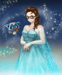1girl alternate_hairstyle bare_shoulders beads black-framed_eyewear black-framed_glasses blue_dress blue_eyes blush braid breasts bridal_gauntlets cape carrot cleavage cosplay dress elsa_(frozen) elsa_(frozen)_(cosplay) frozen_(disney) glasses gloria126 hair_ornament hair_stick large_breasts long_hair mei_(overwatch) off-shoulder_dress off_shoulder overwatch robot single_braid snow snowball_(overwatch) solo sweatdrop