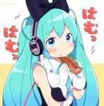 1girl aqua_eyes aqua_hair dress eating food gloves hatsune_miku headphones hot_dog long_hair looking_at_viewer magical_mirai_(vocaloid) nokuhashi pixiv_sample sleeveless sleeveless_dress solo twintails very_long_hair vocaloid white_gloves