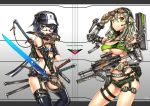 2girls aqua_eyes bikini black_hair breasts cleavage gia glasses gloves goggles goggles_on_head green_eyes green_hair gun hat headset highres holding holding_gun holding_weapon long_hair multiple_girls original short_hair short_shorts shorts single_elbow_glove swimsuit thigh-highs trigger_discipline weapon