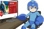 1boy blue_eyes computer green_eyes mighty_no._9 robot rockman rockman_(character) simple_background sitting white_background