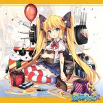>_< 1girl :3 alternate_costume andrea_doria_(zhan_jian_shao_nyu) balloon bandaid_on_arm black_bow blonde_hair blue_shirt book bow box brown_shoes bullet cat closed_eyes closed_mouth confetti copyright_name dice_hair_ornament eyebrows eyebrows_visible_through_hair full_body gift gift_box hair_bow hair_ornament head_tilt highres holding holding_book italian_flag jianren letterboxed long_hair machinery neck_ribbon number official_art open_mouth pleated_skirt puffy_short_sleeves puffy_sleeves red_ribbon ribbon shirt shoes short_sleeves sitting skirt smile solo striped striped_legwear stuffed_animal stuffed_cat stuffed_panda stuffed_toy teruterubouzu thick_eyebrows thigh-highs twintails very_long_hair wariza white_shirt younger zhan_jian_shao_nyu zoom_layer