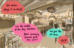 bar color_coordination comic indoors jakuzure_nonon kill_la_kill kiryuuin_satsuki matoi_ryuuko multiple_monochrome no_humans out_of_frame roman_imperial sepia speakeasy