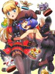 2girls ass bag bare_back bare_shoulders blonde_hair blue_eyes blue_hair blush boots bow brown_eyes cabbie_hat dress fennekin frilled_dress frills garter_straps hair_ornament handbag hat hat_bow hug long_hair looking_at_viewer multiple_girls nadja_(pokemon) pantyhose pikachu poke_ball_theme pokemoa pokemon pokemon_(game) pokemon_co-master psyduck sharon_(pokemon) sparkle spearow striped striped_legwear sweatdrop thigh-highs weezing zangoose