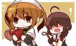 ! 2girls ? ahoge arm_warmers black_serafuku blonde_hair bloom2425 blush blush_stickers book braid brown_eyes brown_hair chibi diary double_bun feather_duster full-face_blush hair_bun hair_over_shoulder hair_ribbon holding holding_book kantai_collection long_hair michishio_(kantai_collection) multiple_girls neckerchief open_mouth ribbon school_uniform serafuku shigure_(kantai_collection) short_hair short_sleeves short_twintails single_braid single_glove suspenders tenugui twintails twitter_username