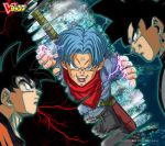 3boys dragon_ball dragon_ball_super dragon_ball_z goku_black multiple_boys official_art son_goku trunks_(dragon_ball) trunks_(future)_(dragon_ball) yamamuro_tadayoshi