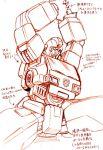 1boy 80s autobot insignia ironhide kamizono_(spookyhouse) machine machinery mecha monochrome oldschool open_mouth robot science_fiction solo transformers translation_request