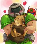 1boy animal animal_hug black_gloves blush cacodemon chibi daisy_(doom) doom_(game) doomguy gloves gradient gradient_background heart helmet kurashiki_nanka male_focus rabbit solo
