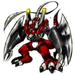 00s arm_blade armor blade cable cannon chest_cannon claws cyborg digimoji digimon digimon_tamers digital_hazard dinosaur dragon dual_wielding glowing gun_port hoko megalogrowmon monster no_humans red_armor ribbon sharp_claws solo tail tail_ribbon weapon white_hair yellow_eyes