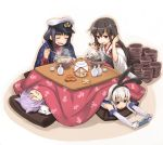 4girls :3 akagi_(kantai_collection) animal_ears black_hair blonde_hair blush blush_stickers bowl cat cat_ears chopsticks eating elbow_gloves female_admiral_(kantai_collection) food fruit gloves green_eyes hairband japanese_clothes kantai_collection kotatsu long_hair mandarin_orange matsuryuu multiple_girls muneate noodles open_mouth playing_games purple_hair shimakaze_(kantai_collection) short_hair sleeping smile soba table tama_(kantai_collection) under_kotatsu under_table white_gloves