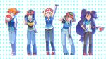 5girls :d :o arm_behind_back baseball_cap blue_eyes blue_hair brown_eyes brown_hair cosplay dark_skin denim fingerless_gloves frown gloves green_eyes haruka_(pokemon) hat hikari_(pokemon) holding holding_hat iris_(pokemon) jacket jeans kasumi_(pokemon) kawashimo leaning_forward long_hair looking_at_viewer multiple_girls one_eye_closed open_mouth orange_hair pants pokemon pokemon_(anime) polka_dot polka_dot_background purple_hair salute satoshi_(pokemon)_(classic) satoshi_(pokemon)_(cosplay) serena_(pokemon) short_hair side_ponytail smile very_long_hair vest
