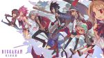 4boys 4girls absurdres artina_(disgaea) bat black_hair blonde_hair blue_eyes blush_stickers boots brown_eyes brown_hair copyright_name demon_tail desco_(disgaea) disgaea emizel_(disgaea) fang fenrich_(disgaea) flonne flonne_(fallen_angel) grey_hair highres holding holding_weapon jacket kazamatsuri_fuuka kieed knife laharl laharl_(prinny) long_hair makai_senki_disgaea_4 miniskirt multiple_boys multiple_girls open_clothes open_jacket open_mouth pants pink_hair pleated_skirt pointy_ears prinny red_eyes red_scarf scarf shoes short_hair skirt smile spiky_hair tail thigh-highs twintails valvatorez_(disgaea) vulcanus_(disgaea_4) weapon