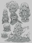 1girl :o ass character_sheet female foaming_at_the_mouth food fruit goo_girl grey grey_background greyscale hushabye monochrome monster_girl multiple_views open_mouth outstretched_arm petite-emi sequential v_arms