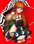 1girl amber_harris bangs black_boots black_legwear blood blood_splatter boots brown_hair full_body fur_trim glasses green_jacket headphones jacket knee_boots light_smile long_hair looking_at_viewer morgana_(persona_5) off-shoulder_shirt orange_hair persona persona_5 red_background sakura_futaba shirt sitting solo t-shirt thigh-highs transparent_background very_long_hair violet_eyes
