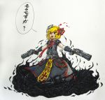 1girl :d absurdres blonde_hair burning_eyes cloak cross crucifix darkness dress dual_wielding fangs gauntlets gloves gun hair_ribbon highres is_that_so looking_at_viewer mask mask_on_head necktie open_mouth overwatch power_connection reaper_(overwatch) reaper_(overwatch)_(cosplay) red_eyes ribbon rumia scan shotgun smile solo touhou traditional_media weapon