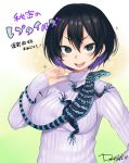 +_+ 1girl :d animal animal_on_chest artist_name black_hair breasts dancho_(dancyo) dated green_eyes hair_between_eyes hand_on_hip highres himitsu_no_reptiles lizard long_sleeves multicolored_hair open_mouth purple_hair ribbed_sweater short_hair sleeves_past_wrists smile solo sparkle sweater turtleneck two-tone_hair upper_body white_sweater