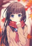 1girl arm_behind_back autumn_leaves bare_tree blurry blush brown_eyes brown_hair depth_of_field eyebrows eyebrows_visible_through_hair hand_up holding_clothes kawami_nami long_hair looking_at_viewer neckerchief original plaid plaid_scarf scarf school_uniform serafuku sleeves_past_wrists solo sweater tree upper_body wavy_mouth