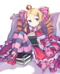 >:< 1girl :< beatrice_(re:zero) blonde_hair blue_eyes blush book bow capelet closed_mouth crown dress drill_hair frilled_dress frilled_sleeves frills fur_trim hair_ribbon holding holding_book legs_up long_hair looking_at_viewer mini_crown newey pantyhose pillow re:zero_kara_hajimeru_isekai_seikatsu reading ribbon shoes sidelocks sitting solo striped striped_legwear symbol-shaped_pupils twin_drills twintails white_background