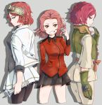 3girls arm_behind_back bangs black_legwear black_shirt black_skirt brown_eyes cropped_legs crossover cup from_side girls_und_panzer gloves goggles goggles_on_head grin highres holding jacket koutetsujou_no_kabaneri long_sleeves look-alike looking_at_viewer military military_uniform minase_koito minase_koito_(cosplay) miniskirt multiple_crossover multiple_girls musaigen_no_phantom_world open_clothes open_jacket pantyhose parted_bangs pleated_skirt red_eyes red_jacket redhead rlin rosehip shadow shirt short_hair sketch skirt sleeves_rolled_up smile spilling standing tea teacup trait_connection uniform white_jacket white_skirt wrench yukina_(kabaneri) yukina_(kabaneri)_(cosplay)