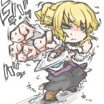 1girl arm_warmers blonde_hair boots dress green_eyes kureha_mitsushige mizuhashi_parsee pointy_ears punching scarf short_hair solo touhou