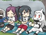 3girls :d ^_^ ahoge black_hair casual closed_eyes commentary dated destroyer_water_oni eating escort_fortress_(kantai_collection) food food_on_face gym_shorts gym_uniform hagikaze_(kantai_collection) hamu_koutarou handkerchief horns kantai_collection long_hair mittens multiple_girls northern_ocean_hime obentou open_mouth orange_eyes ponytail purple_hair rain red_eyes rice rice_on_face shinkaisei-kan shorts side_ponytail smile thought_bubble tree white_hair white_skin yahagi_(kantai_collection)